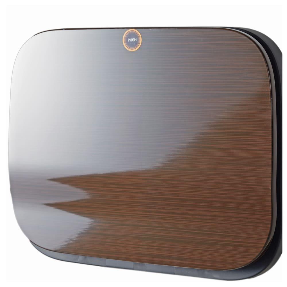省スペース!高機能インテリアタワーダストボックス 3段・高さ97cm (エ)高級感のある木目のダークブラウン