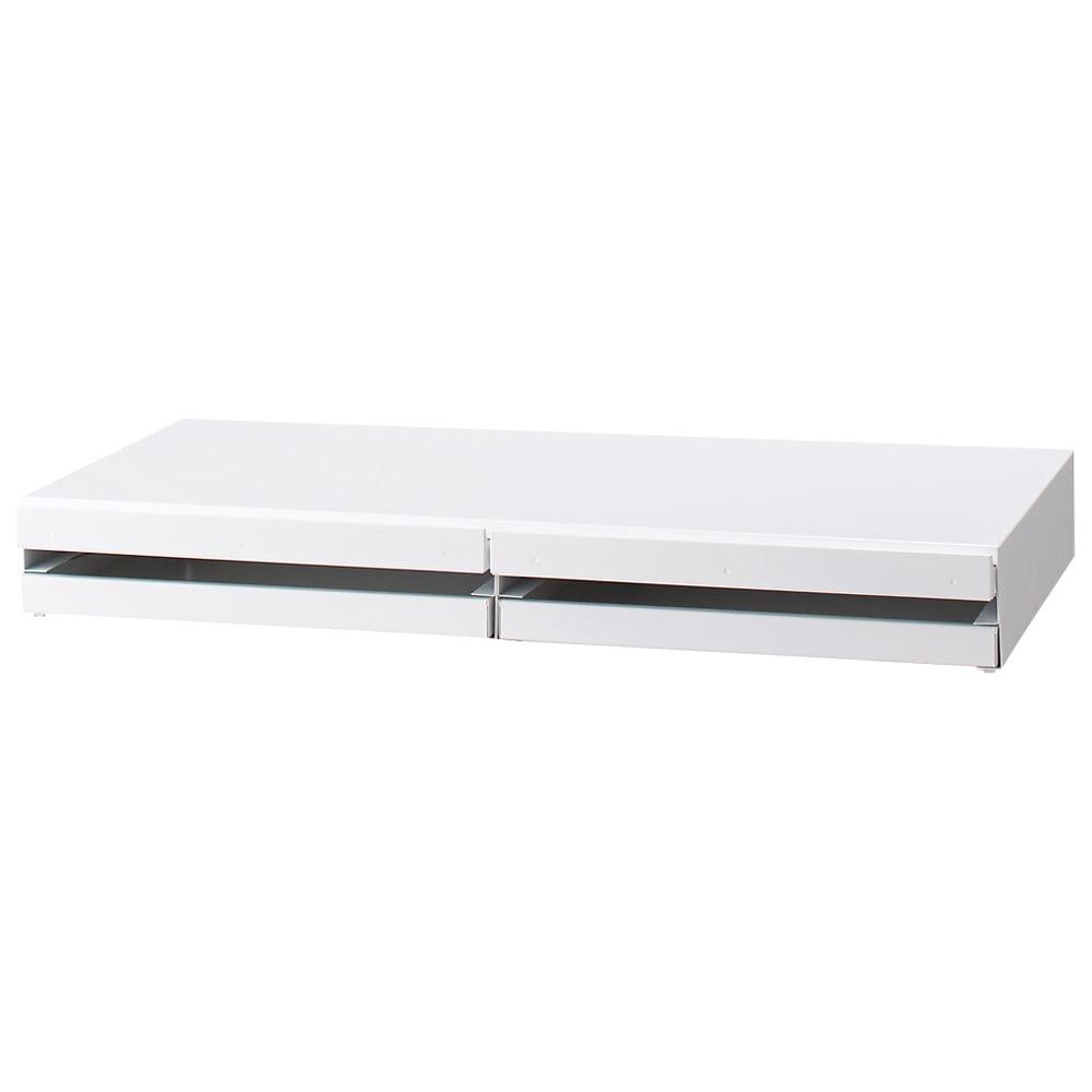 家電周りでの調理をサポートするレンジ下スライドテーブル 引き出し付き 幅80高さ10cm 汚れてもサッと拭き取れるメラミン塗装を施したスチール製。スライドテーブルは約27cm前方へ引き出せます。