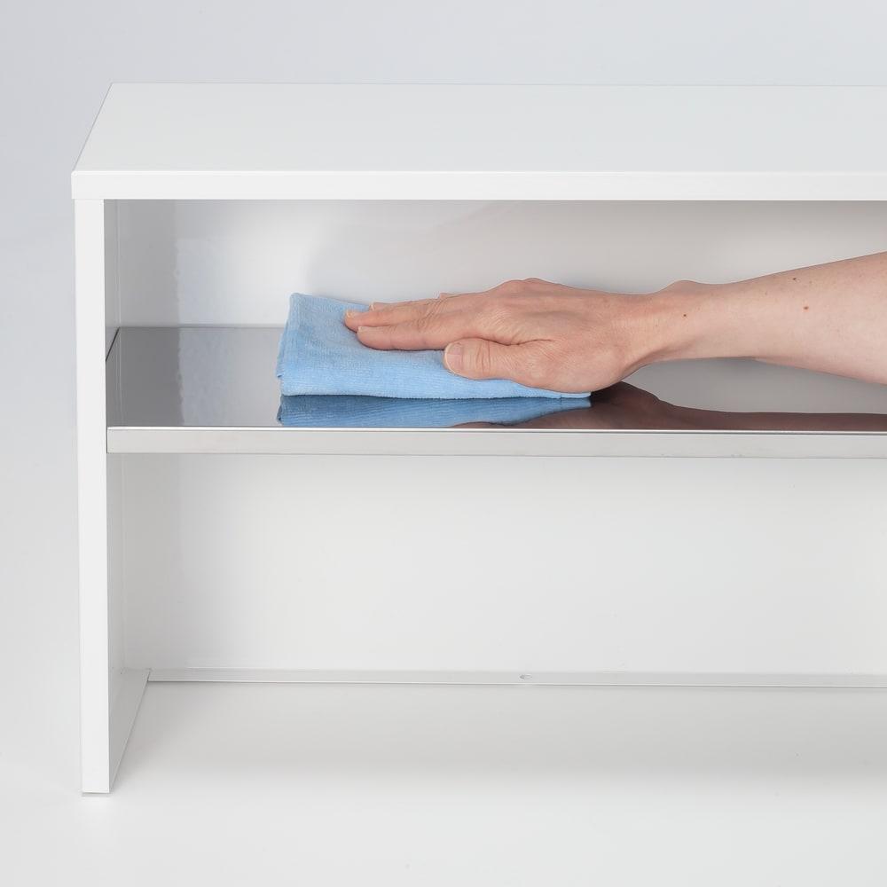 手元が隠せるカウンター上収納 幅75cm 中棚はステンレス製。汚れがサッと拭き取れ、お手入れも簡単。左右どちらにも取り付けでき、取り外しもできます。