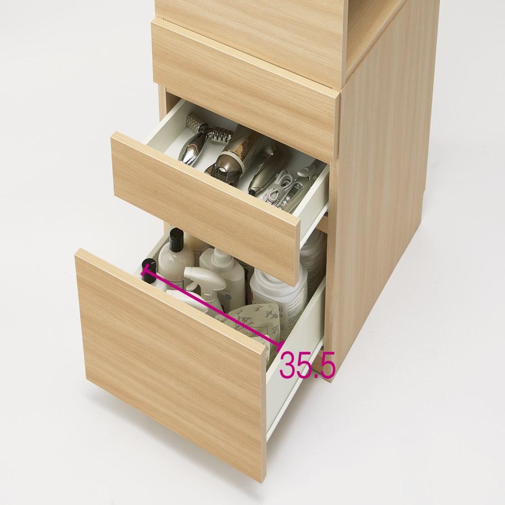 上部オープン棚で取り出しやすい 幅サイズオーダーすき間収納庫 奥行45cm・幅15~45cm 引き出し有効内寸高さは1段目=11cm、2段目=11.5cm、3段目=32.5cmです。 ※写真は幅45cmです。
