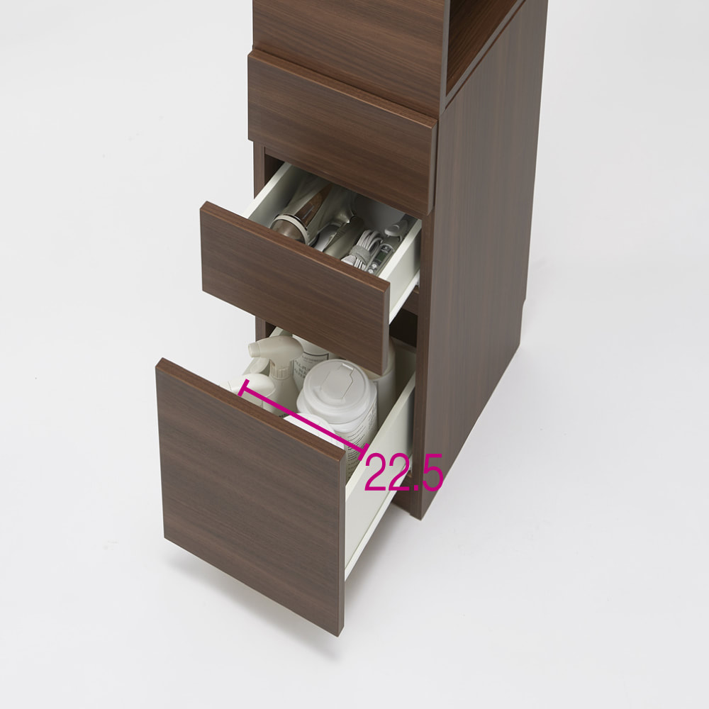 上部オープン棚で取り出しやすい 幅サイズオーダーすき間収納庫 奥行45cm・幅15~45cm 収納例 ※写真は幅32cmです。