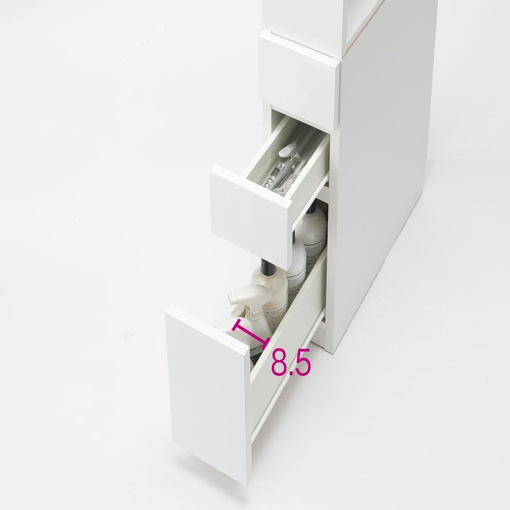 上部オープン棚で取り出しやすい 幅サイズオーダーすき間収納庫 奥行45cm・幅15~45cm 収納例 ※写真は幅18cmです。