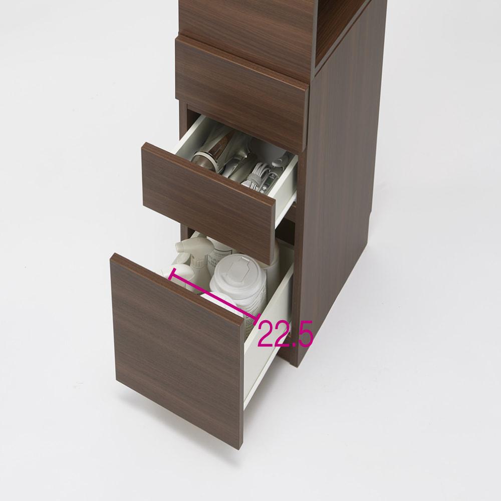 上部オープン棚で取り出しやすい 幅サイズオーダーすき間収納庫 奥行55cm・幅15~45cm 収納例 ※写真は幅32cmです。