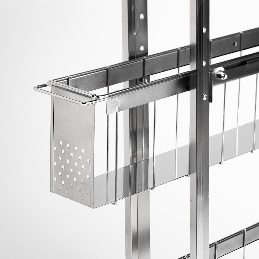ステンレス洗濯機サイドラック 4段 幅14.5cm高さ103.2cm バスケットはスムーズに開閉できるスライドレール仕様。底面板は液漏れにも強いステンレス。