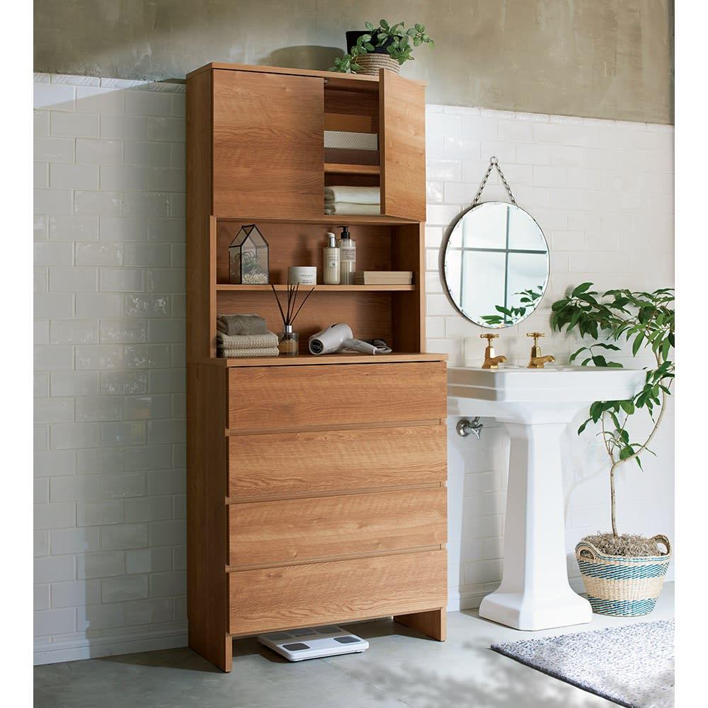 家電が使えるコンセント付き 多機能洗面所チェスト 幅67.5cm 使用イメージ(イ)ブラウン ※写真は幅75cmタイプです。