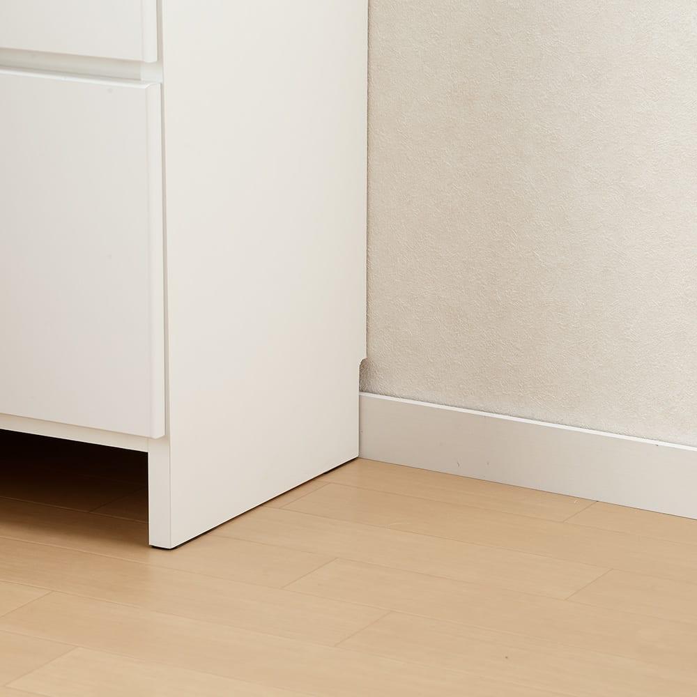 幅と奥行が選べるサニタリーチェスト 幅60cm奥行35cm 背面下部には幅木よけカット(1×9cm)が施してあり、壁にすき間なくぴったりと設置ができます。