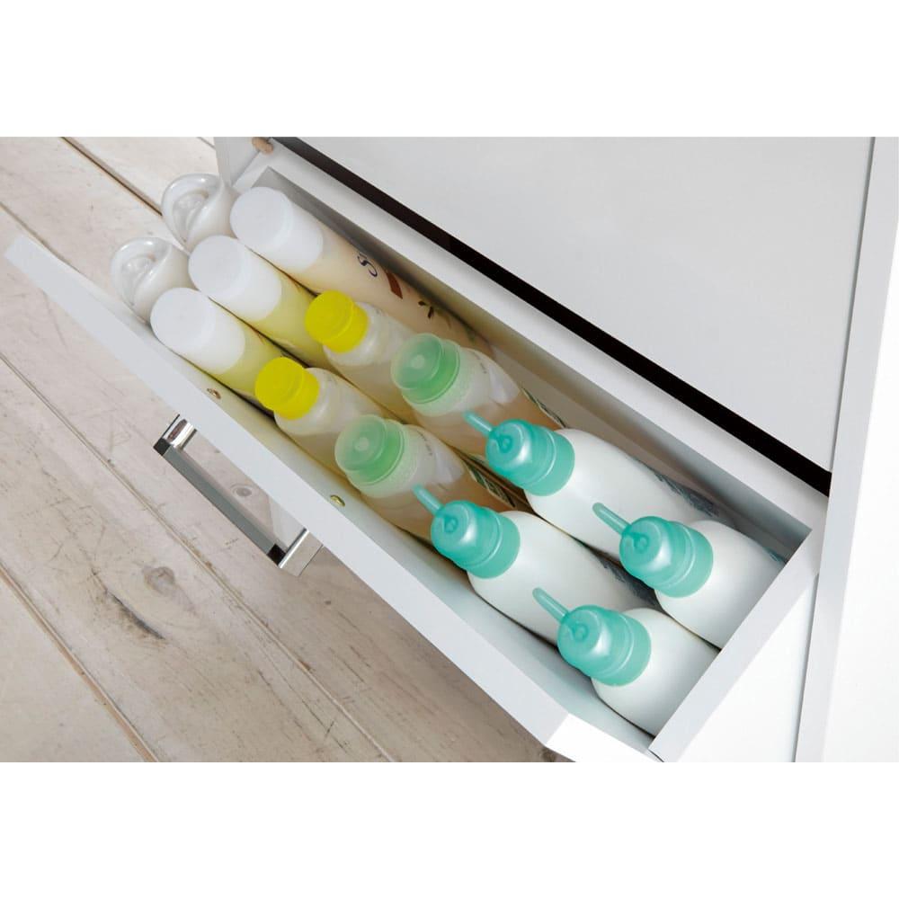 薄型フラップ収納チェスト 幅29cm・奥行19cm シャンプーや洗剤などのボトル類を。
