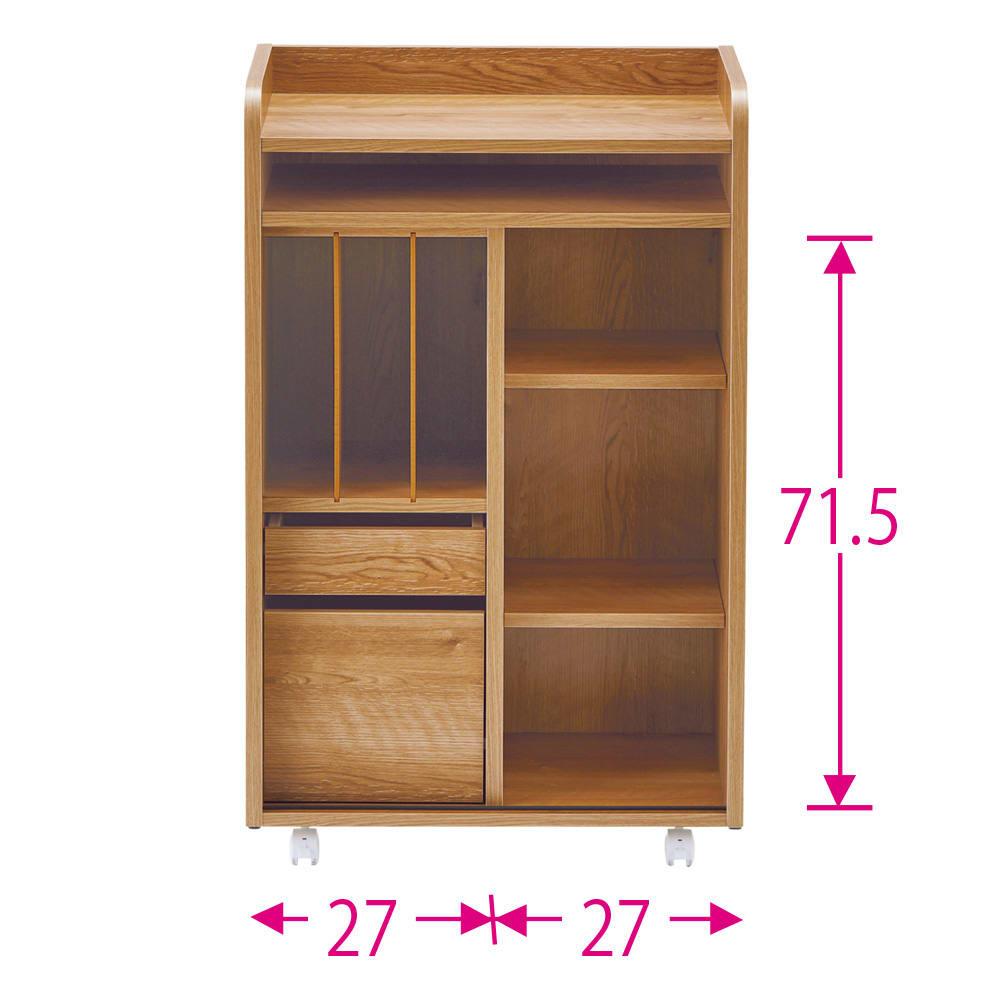 隠せる片引き戸ランドセルラック 幅60cm ※赤文字は内寸(単位:cm) ※扉を外した状態