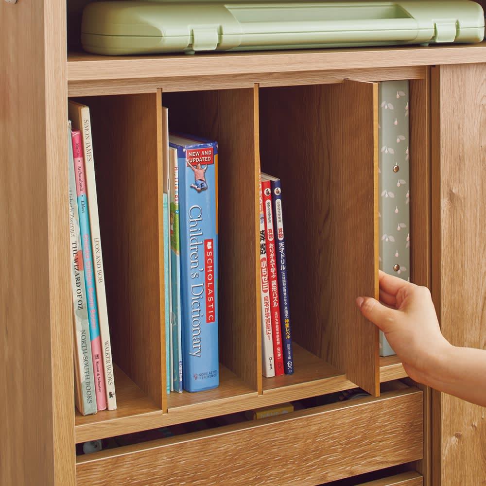 隠せる片引き戸ランドセルラック 幅60cm 【分類収納】絵本や教科書は仕切り板で分けて収納できます。