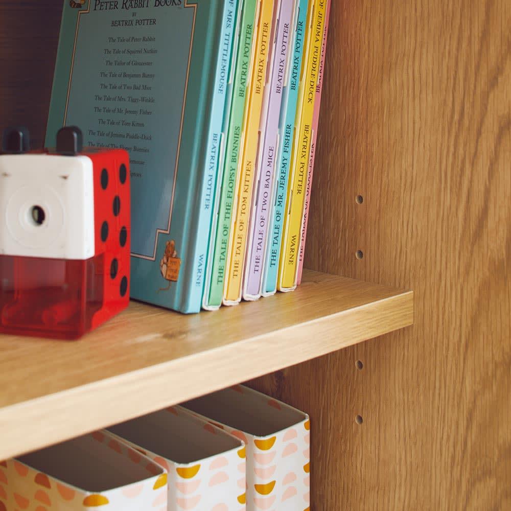 隠せる片引き戸ランドセルラック 幅90cm 【可動棚】ラック部分の棚板は3cm間隔で可動します。