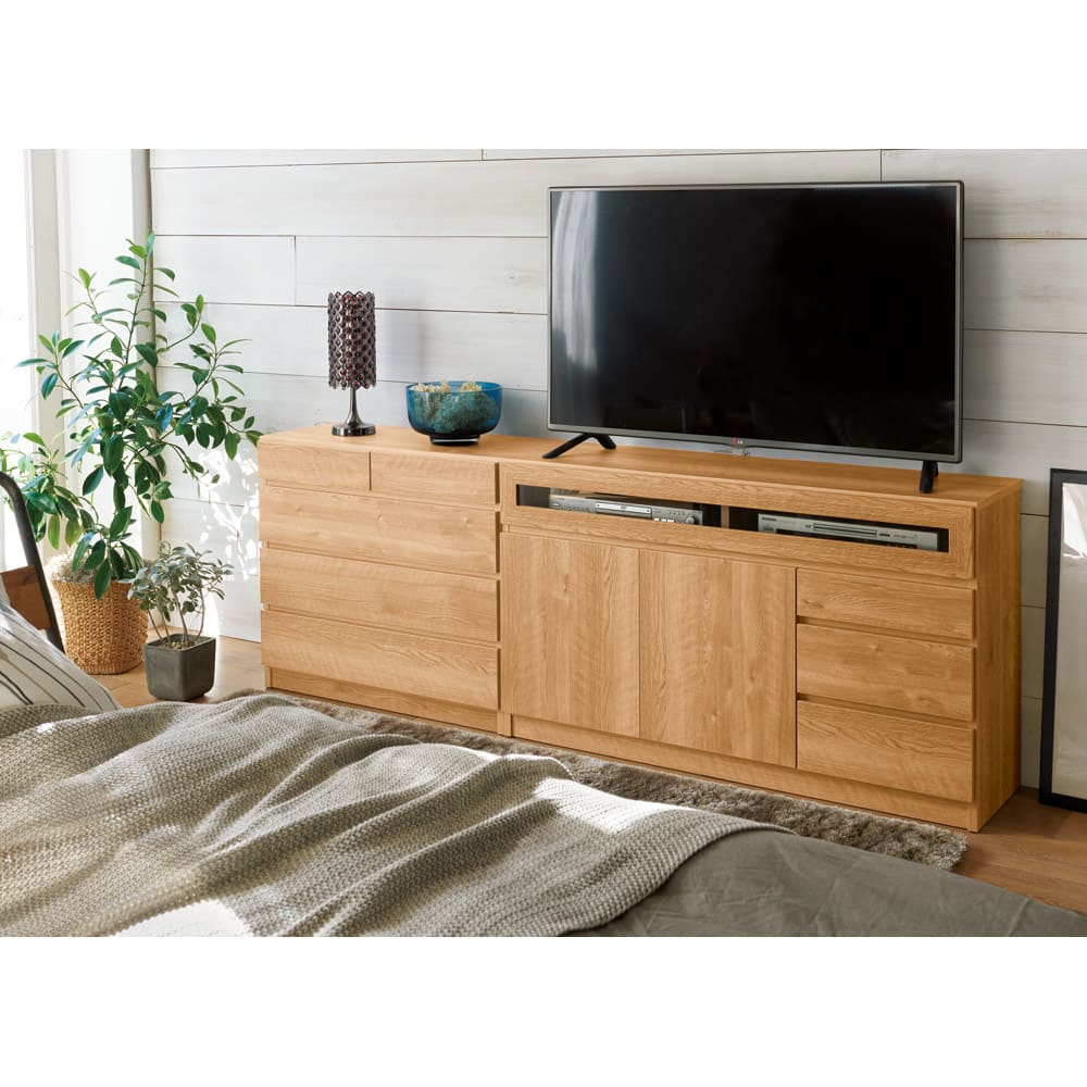 【完成品・国産家具】ベッドルームで大画面シアターシリーズ チェスト 幅45高さ55cm 色見本(エ)ブラウン