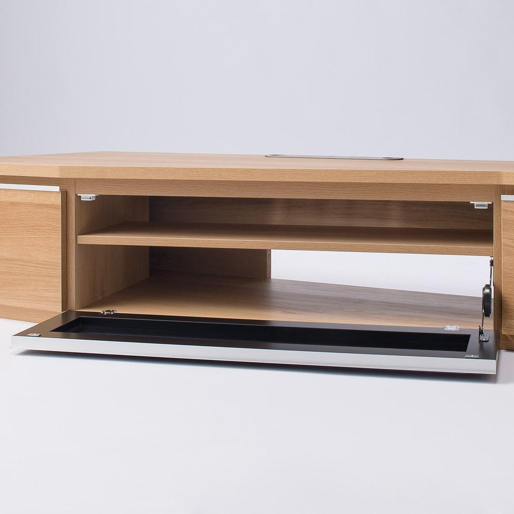 住宅事情を考えた天然木調コーナーテレビ台 左コーナー用 幅123.5cm デッキ収納部内寸:幅84奥行(棚板)29高さ24cm