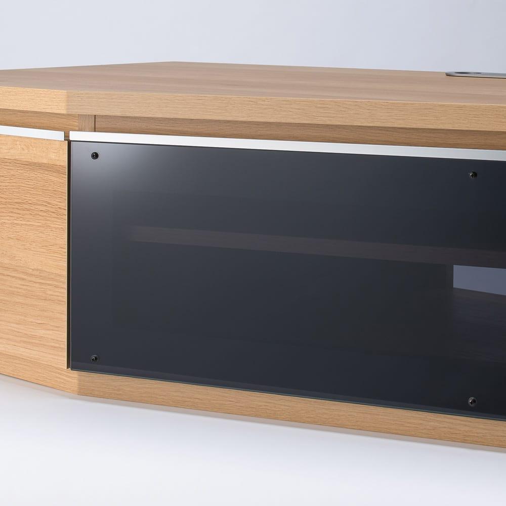 住宅事情を考えた天然木調コーナーテレビ台 左コーナー用 幅123.5cm ブラック系のスモークガラスが、お洒落さとインテリア性をアップ。