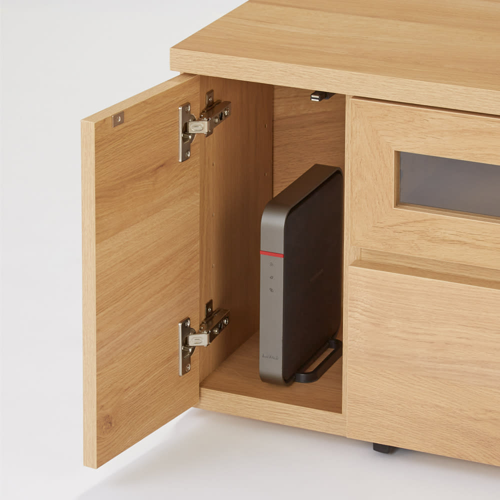 天然木調お掃除がしやすいコーナーテレビ台 幅120cm 左右収納部、可動棚を外せばゲームやルーター・モデムの収納に。
