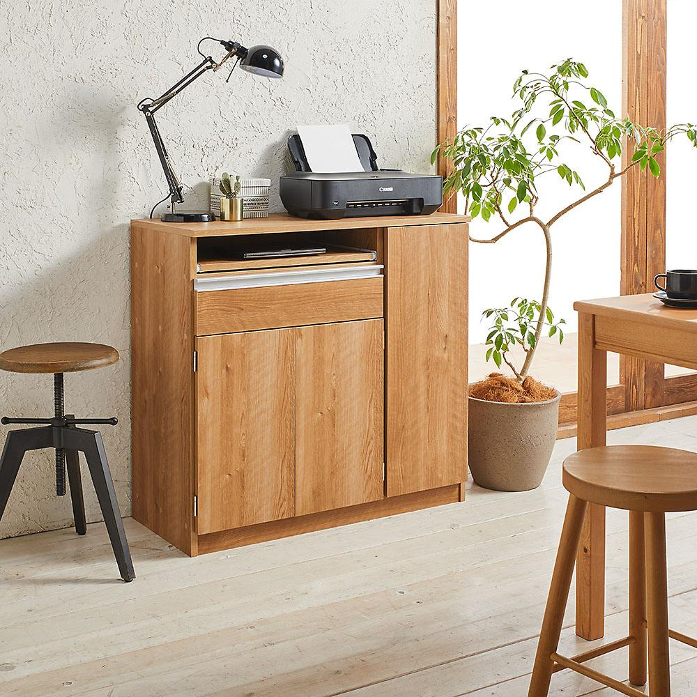 薄型PCキャビネット 幅90cm (ア)ブラウン 北欧風のスタイリッシュなデザイン。