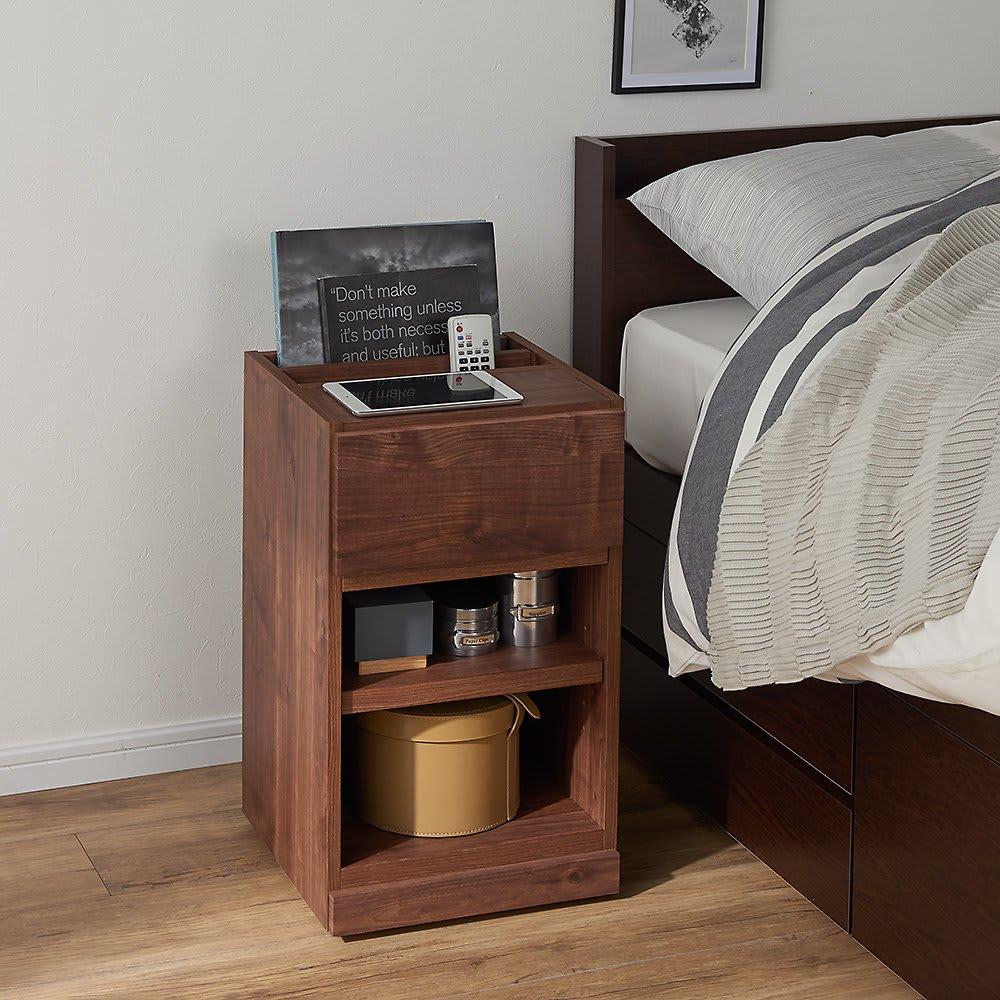 モダンスタイルリビング便利ワゴン 棚タイプ (イ)ダークブラウン ベッドサイドで寝室小物も収納。