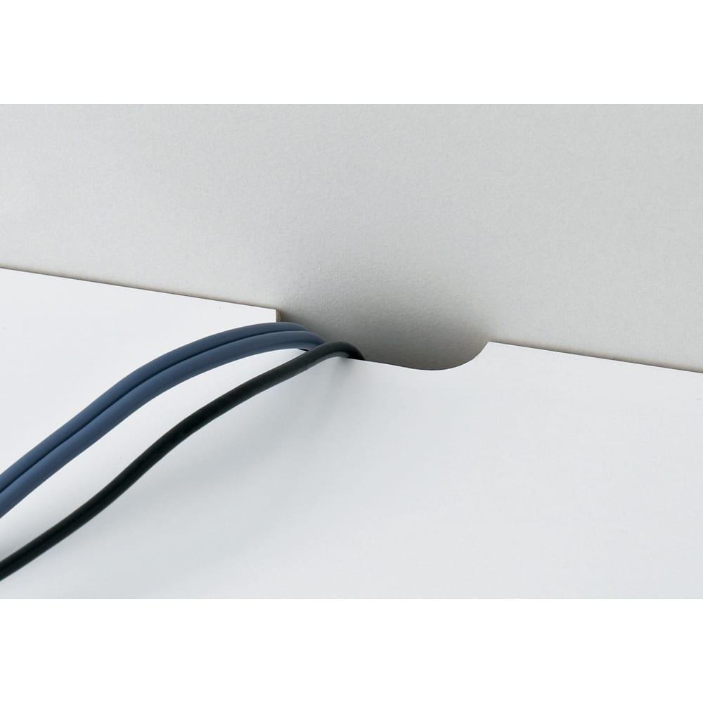 【日本製】窓下にぴったり収まる 高さサイズオーダー壁面収納 扉幅120奥行25cm 天板から配線可能 天板奥には、コードが通せるかきとりを施しました。