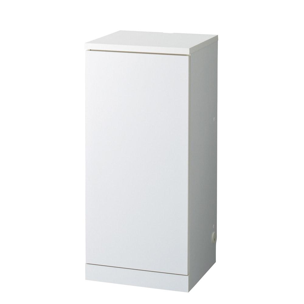 【日本製】壁面や窓下にぴったり収まる高さオーダー対応収納庫 扉幅オーダー25~45(左開)奥行25cm (ア)ホワイト ※お届けする商品です。