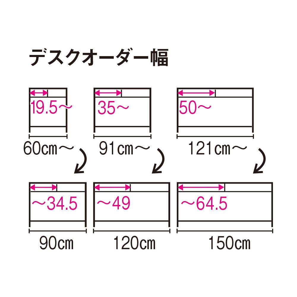 配線すっきり幅オーダーデスク 幅60~150cm(1cm単位オーダー) 【デスクオーダー幅】※赤字は内寸(単位:cm)