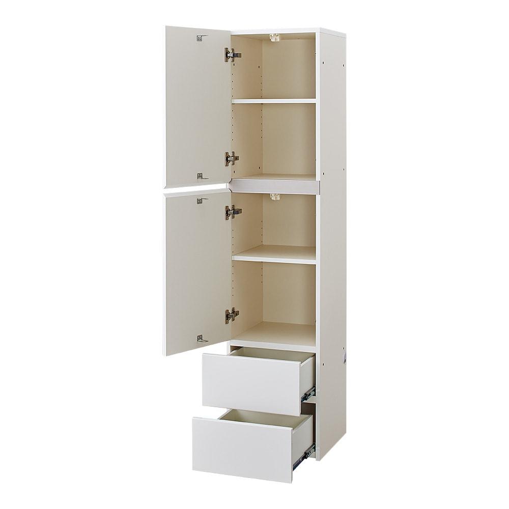 【パモウナ社製】毎日の使いやすさを考えた収納システム 扉&引き出し収納庫 幅40cm (ア)ホワイト