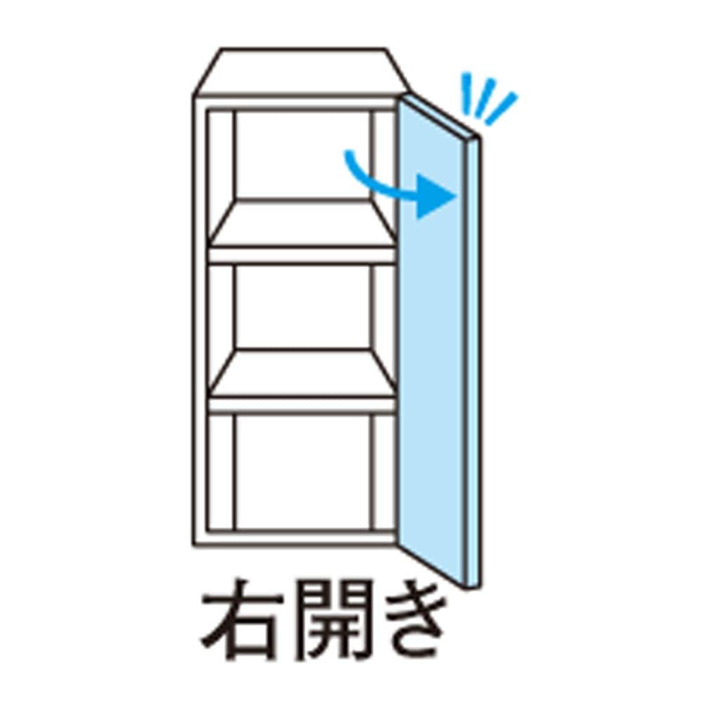 【パモウナ社製】毎日の使いやすさを考えた収納システム 扉+オープン収納タイプ(扉右開き) 幅40cm こちらの商品は右開きです。