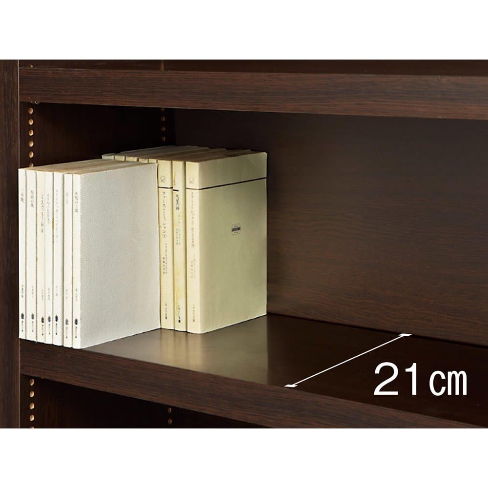 天井突っ張り式がっちりすっきり壁面本棚 奥行22.5cmタイプ 1cm単位高さオーダー 幅100cm・高さ207~259cm 薄型の奥行22.5cmタイプは、一段の棚に文庫本が前後に2列収納可能。充分な容量を確保しています。