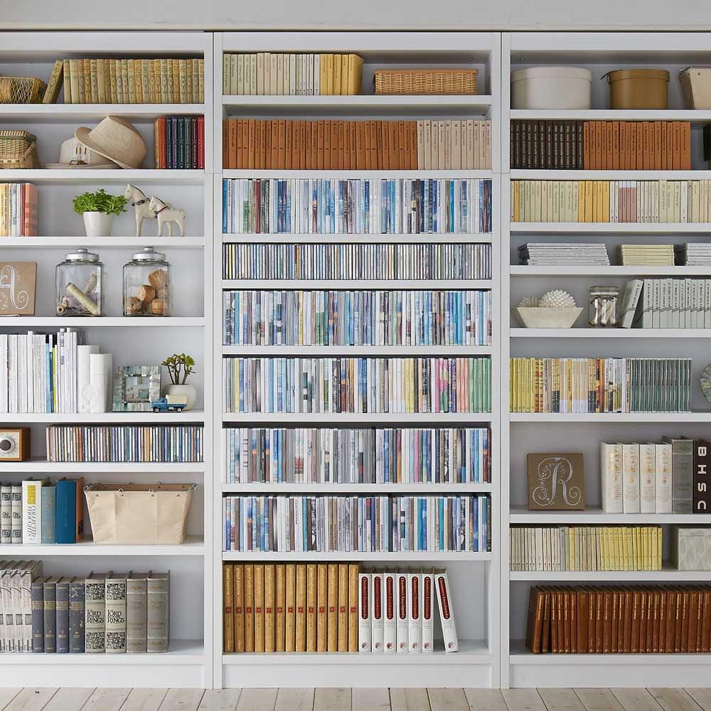 天井突っ張り式がっちりすっきり壁面本棚 奥行30cmタイプ 1cm単位オーダー 幅46~60cm・高さ207~259cm DVD収納にもオススメ!