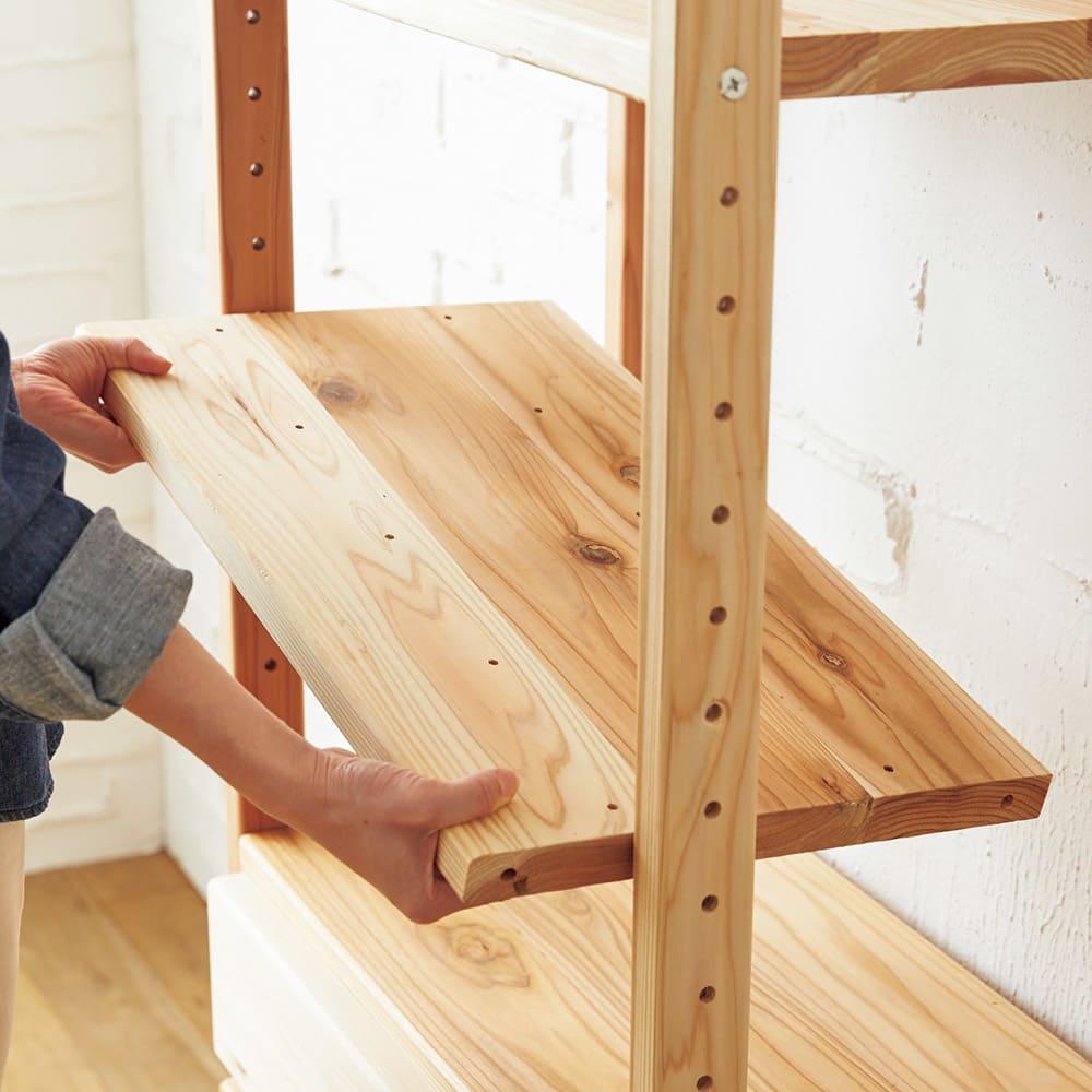 国産杉頑丈ディスプレイ本棚(ヴィンテージ風ラック) 幅80cm 扉タイプ 棚板は可動式。収納物に合わせて4.5cmピッチの高さ調節式。