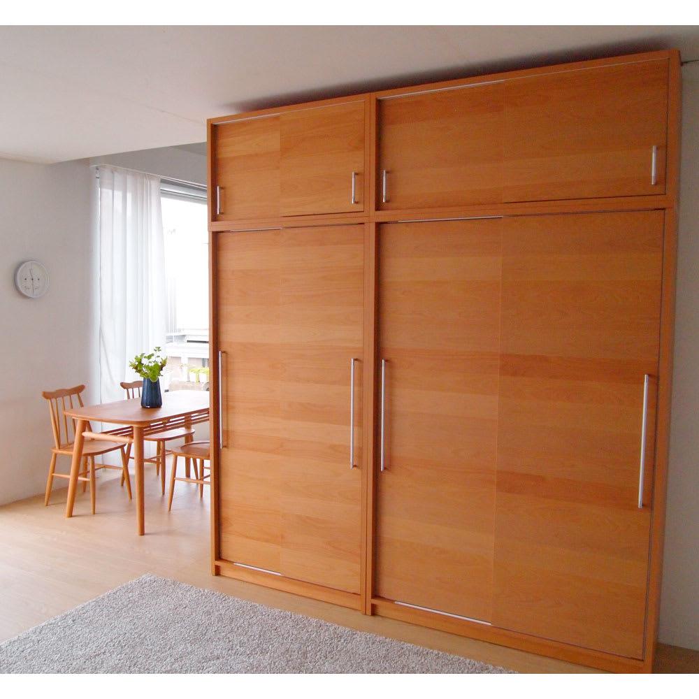 組立不要 アルダー引き戸頑丈本棚 幅120.5cm 上置き 扉を閉めた様子。