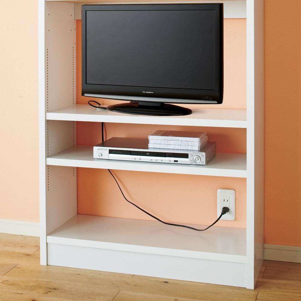 コミックが大量収納できる高さサイズオーダー対応頑丈突っ張り壁面収納本棚 奥行17.5cmタイプ 幅60本体高さ207~259cm(対応天井高さ208~260cm) 小型のテレビやデッキ類も棚奥行をやや浅めに設計しているので、後ろからコードを通してつなげます。