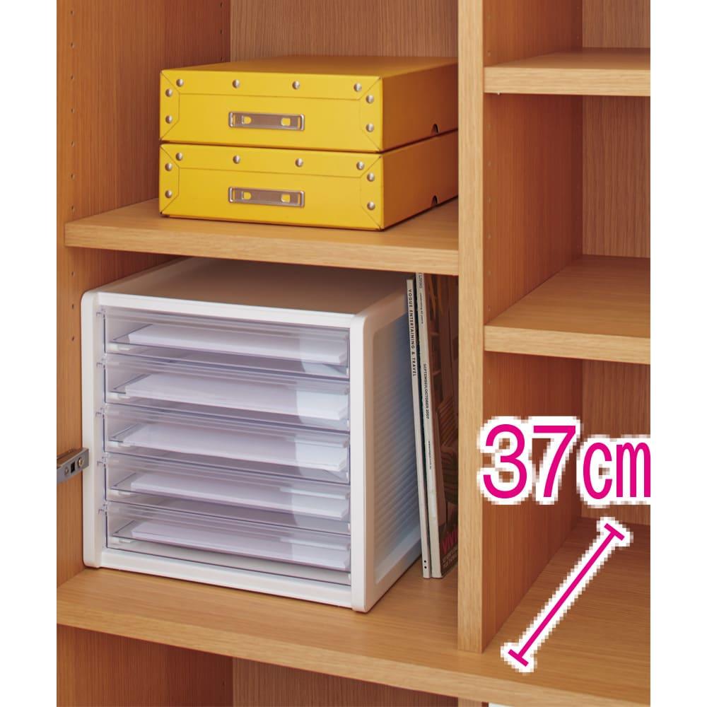 鍵付き本棚ハイタイプ 幅80奥行45高さ180cm 奥行45cmタイプは大判の書類ボックスやレターケースなどもすっきり収められます。