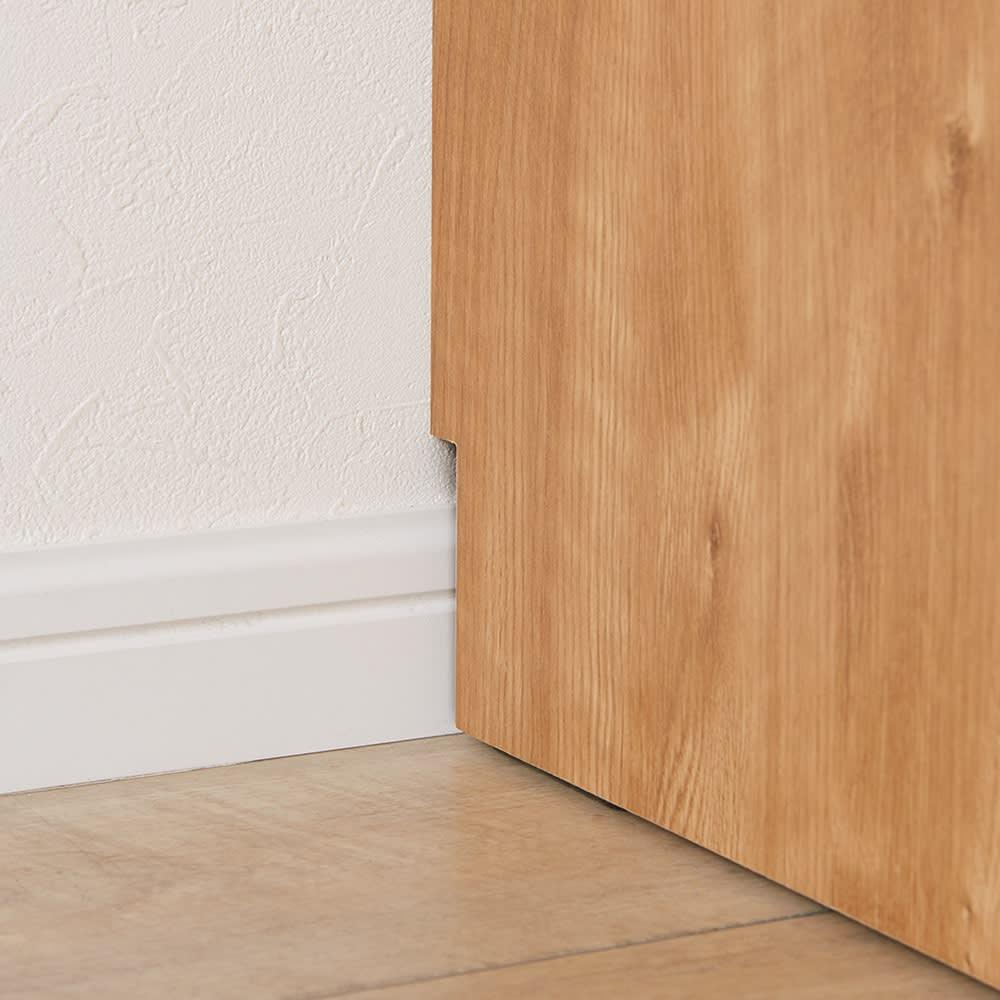 高さサイズオーダー 幅60cm引き出しリビングキャビネット 奥行35cmタイプ ・高さ40~120cm 幅木をよけるために背板の下側をカット。壁にすき間なくぴったり設置できます。