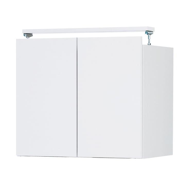 日用品もしまえる頑丈段違い書棚上置き(幅60cm) (ア)ホワイト