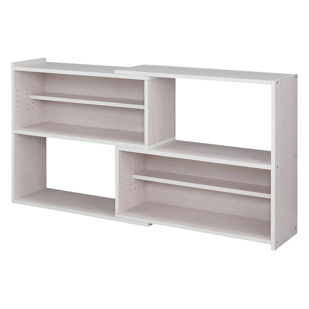 天然木調 伸縮式ブックシェルフ 2段・幅90~155cm (ウ)ホワイト