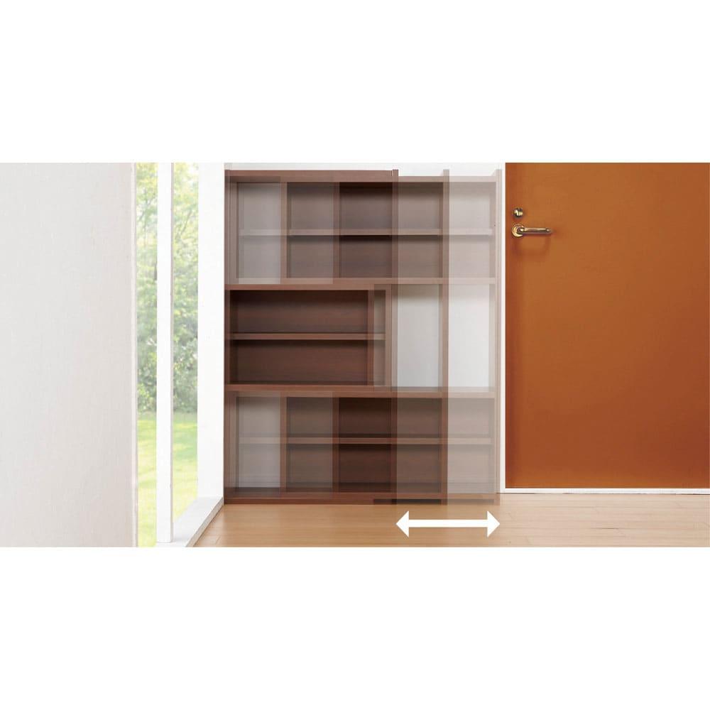 天然木調 伸縮式ブックシェルフ 3段・幅60~93cm 設置場所に応じてフレキシブルに幅伸縮。