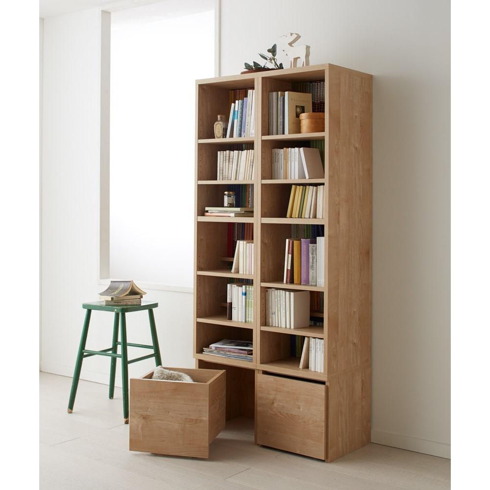 天然木調ブックシェルフ 高さ180cm シェルフのみを並べての使用も出来ます。(転倒防止金具付き)