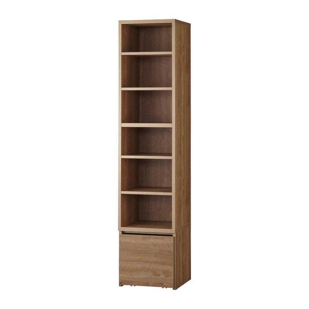 天然木調ブックシェルフ 高さ180cm (ア)ブラウン 棚板は前後段違いで、3cmピッチで可動。
