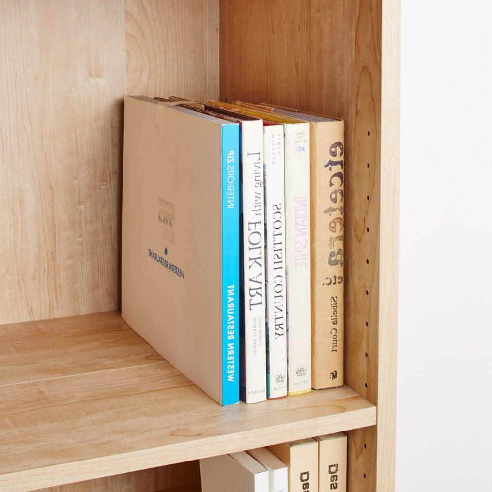 天然木調ブックシェルフ 高さ180cm 前後段違い棚をそろえて使用すればレターボックスなども収納できます。(奥行内寸38cm)