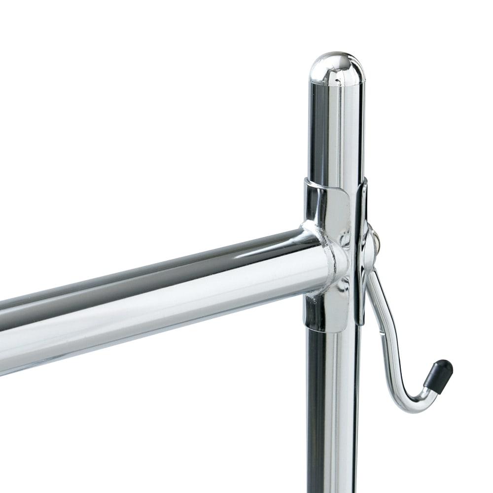 幅と高さが変えられるプロ仕様頑丈ハンガー 上下2段掛け付き シングルタイプ・幅70~92cm ハンガーバーは従来より肉厚のパイプを使用し、強度アップ。