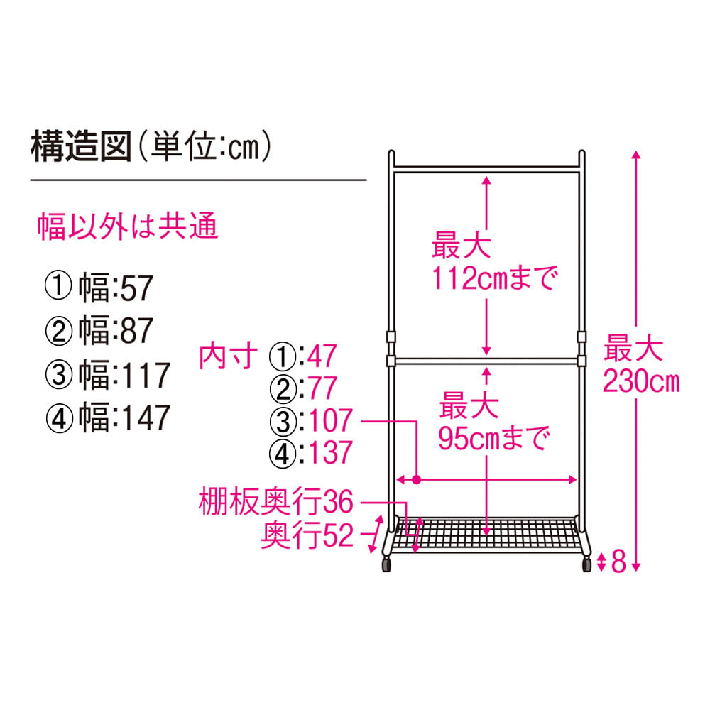 プロ仕様 上下2段頑丈ハンガーラック 幅147cm 内寸図
