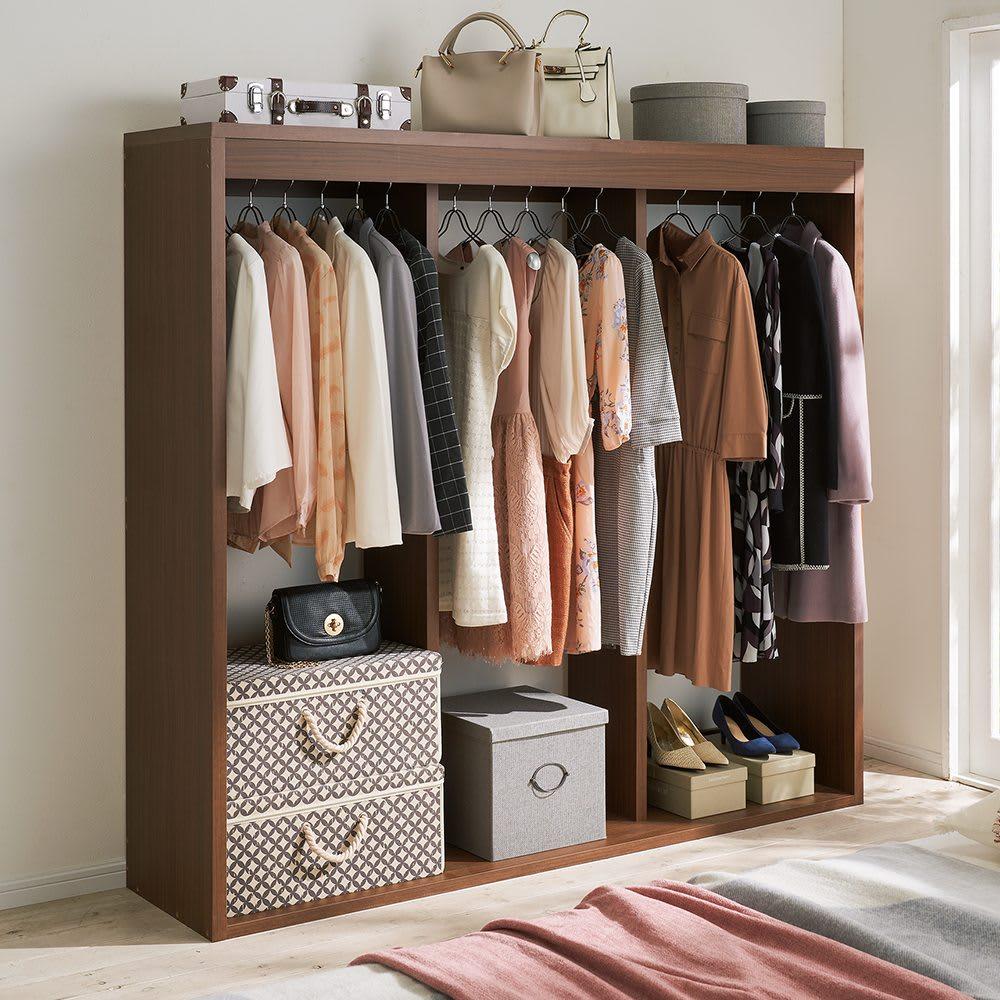 木製でしっかり!大容量ディスプレイワードローブ 幅177cm (イ)ダークブラウン 1台で収納完結。衣類、小物をまとめて使いやすく。