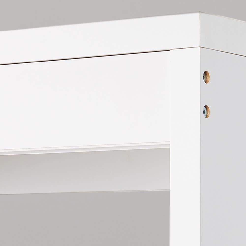 木製でしっかり!大容量ディスプレイワードローブ 幅177cm 天板を支え、強度を高める幕板。