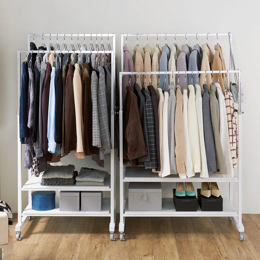 スタイリッシュデザインで頑丈!高さ伸縮もできる前後ダブルハンガー (ア)ホワイト 大量に服を掛けてもグラつかない頑丈な作り。 ※写真は(左)幅81cmタイプ(右)幅101cmタイプです。