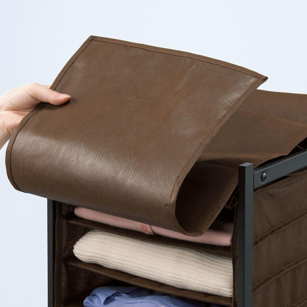 ワイシャツ・バッグ収納ラック ワイシャツ用縦型 カバーで隠せてホコリからもガード。前カバー付きなのでシャツやバッグを隠せて見た目スッキリ。