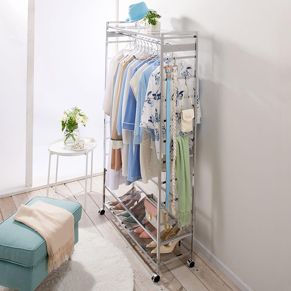 CINDERELLA(シンデレラ)ハンガーラック 棚2段・幅100cm 透明感&清潔感を大切にするクリアアクリル棚つき