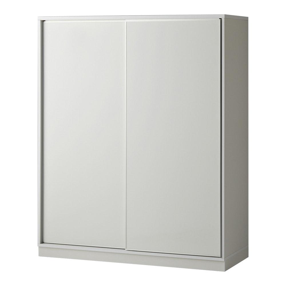 【日本製】引き戸式ミラーワードローブ  ハンガー 幅148cm (エ)前板:ホワイト・本体:ホワイト、前面には光沢感溢れる素材、ピアフィールを使用しています。