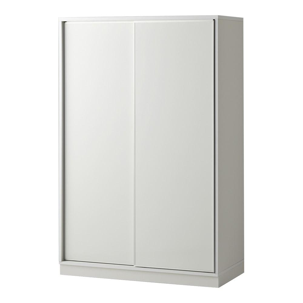 【日本製】引き戸式ミラーワードローブ 棚タイプ 幅118cm (エ)前板:ホワイト・本体:ホワイト