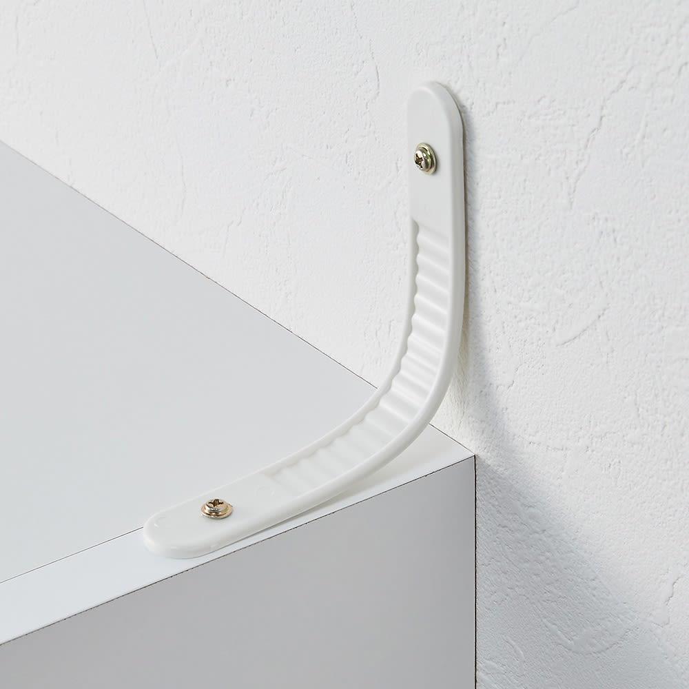 お部屋の天井構造を考慮した壁面ワードローブ 棚タイプ 幅60高さ180cm(高い梁下に) 転倒防止用ベルトも付いており、上置きなしでも壁に固定できます。