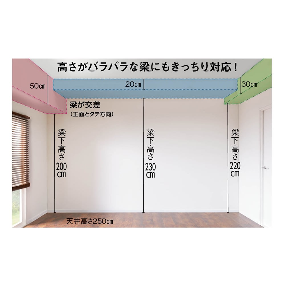 お部屋の天井構造を考慮した壁面ワードローブ 棚タイプ 幅60高さ180cm(高い梁下に) 大きな梁、重なり合う梁下にも対応する突っ張り式壁面収納。サイズやタイプが異なる40種類から自由に組み合わせて、壁面全体を美しく効率的に活用できます。