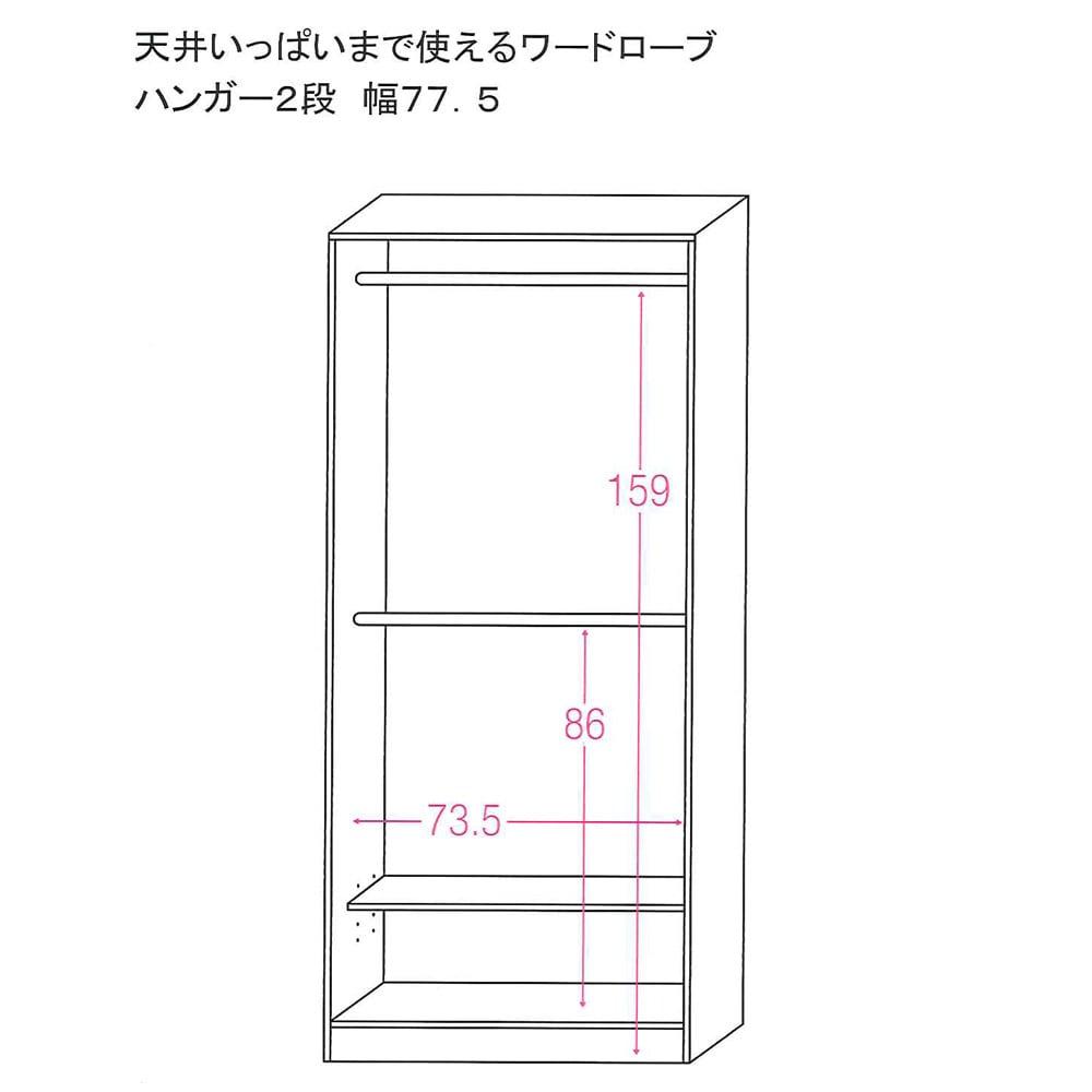 【国産・完成品】 薄型 オープンワードローブ ハンガー2段 幅77.5cm 内寸図)単位:cm)